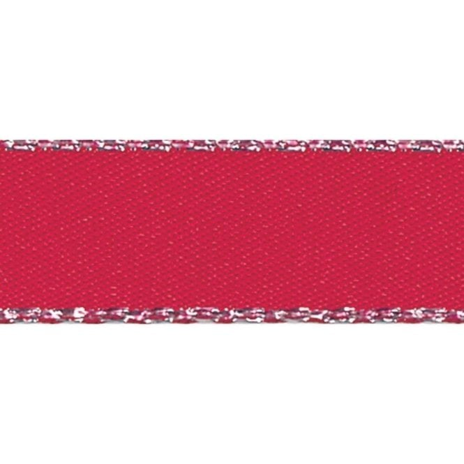 Berisford Ribbon Red with Silver Textured Edge - Double Faced Satin Cake Ribbon - by the metre