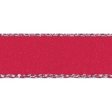 Red with Silver Textured Edge - Double Faced Satin Cake Ribbon - by the metre