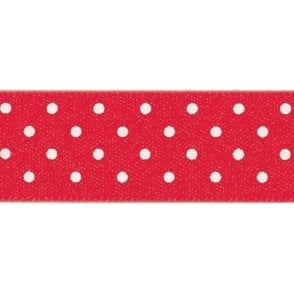 Red with White Micro Polka Dots - Double Faced Satin Cake Ribbon - by the metre