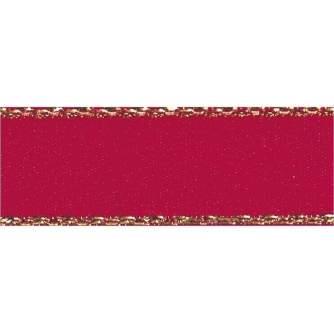 Berisford Ribbon Scarlet Red with Gold Textured Edge - Double Faced Satin Cake Ribbon - by the metre