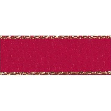 Scarlet Red with Gold Textured Edge - Double Faced Satin Cake Ribbon - by the metre