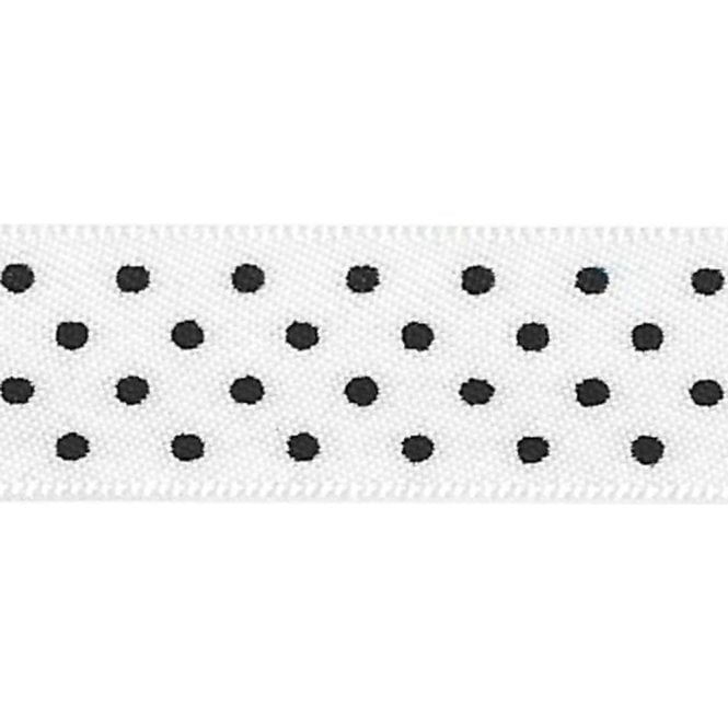 Berisford Ribbon White with Black Micro Polka Dots - Double Faced Cake Satin Ribbon - by the metre