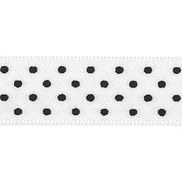 White with Black Micro Polka Dots - Double Faced Cake Satin Ribbon - by the metre