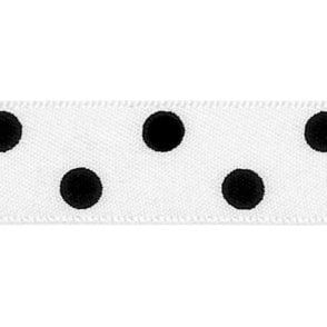 White with Black Polka Dots - Double Faced Cake Decorating Satin Ribbon - by the metre