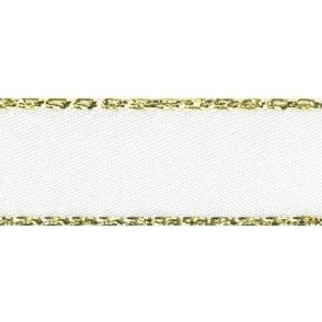 White with Gold Textured Edge - Double Faced Satin Cake Ribbon - by the metre