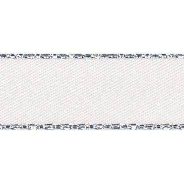 White with Silver Textured Edge - Double Faced Satin Cake Ribbon - by the metre