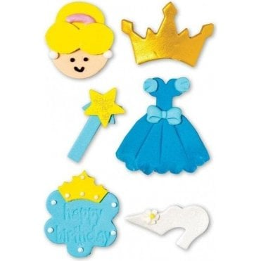 Blue Princess Sugar Decorations - 6 Count