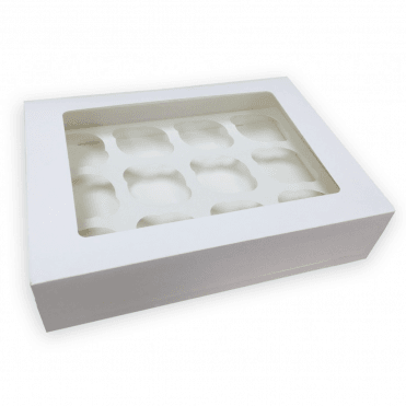 "4"" Deep White Cupcake Box with Window and Insert"