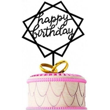 "Geometric Metallic Black ""Happy Birthday"" Acrylic Cake Topper"