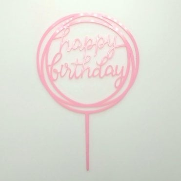 "Geometric Metallic Baby Pink ""Happy Birthday"" Acrylic Cake Topper"