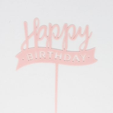 "Geometric Metallic Light Pink ""Happy Birthday"" Acrylic Cake Topper"