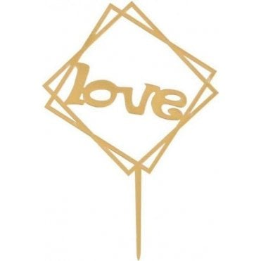"Geometric Metallic Gold ""Love"" Acrylic Cake Topper"