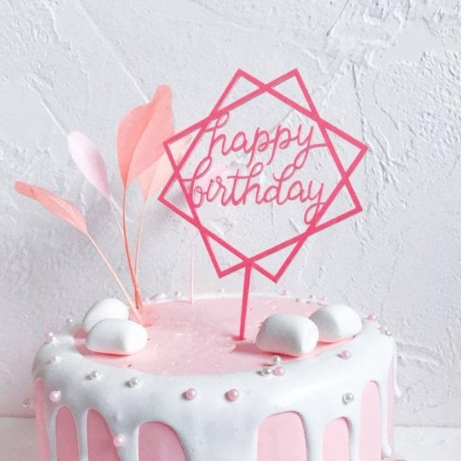 Geometric Metallic Dark Pink Happy Birthday Acrylic Cake Topper