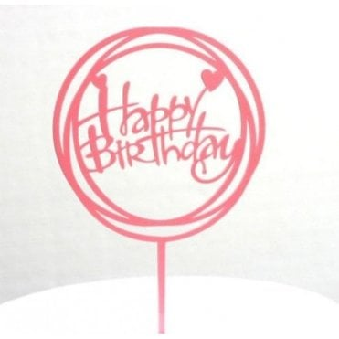 "Geometric Metallic Hot Pink ""Happy Birthday"" Acrylic Cake Topper"