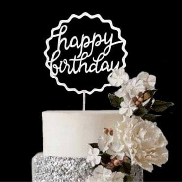 "Geometric Metallic Silver ""Happy Birthday"" Acrylic Cake Topper"