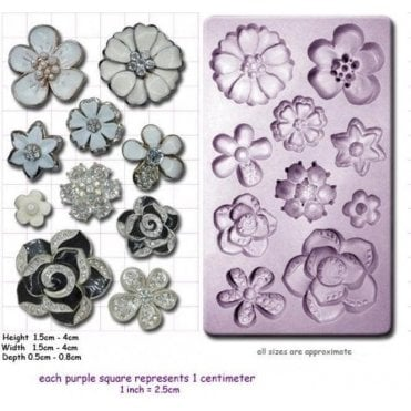 Brooch Jewelled Flowers - Cake Decorating Silicone Mould