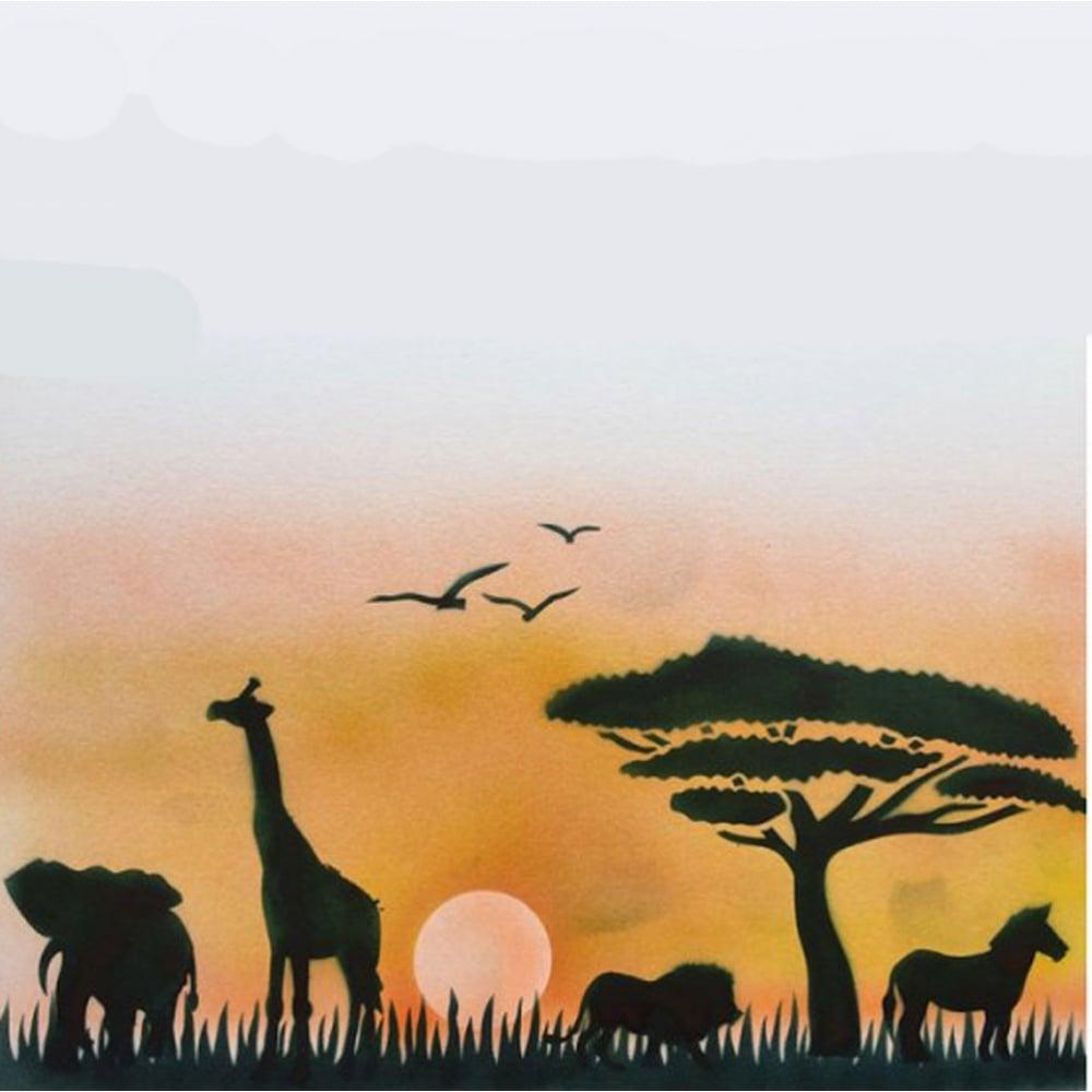 Savannah Stencil Trees Animals Birds Amp Sunset Cake
