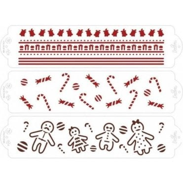 Christmas Set of 3 - Cake Decorating Stencil 7 x 30cm