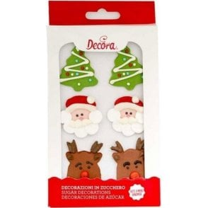 Christmas Sugar Royal Icing Decorations Mixed Sizes - 6 Count