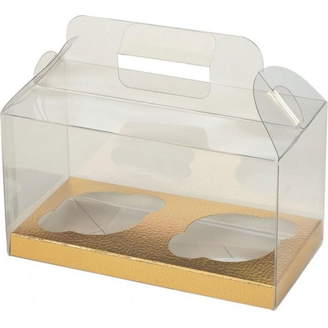 Club Green Clear PVC High Quality Cupcake Box with Gold Insert - Holds 2