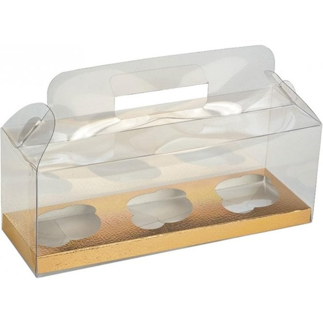 Club Green Clear PVC High Quality Cupcake Box with Gold Insert - Holds 3