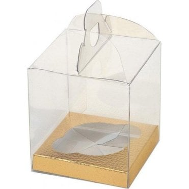Clear PVC High Quality Single Cupcake Box with Gold Inserts