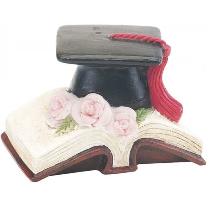 Club Green Graduation Resin Book/Flower Cake Figurine/Topper