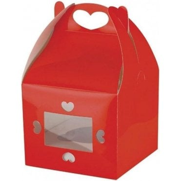 Heart Design Red Single Cupcake Box with Window and Insert