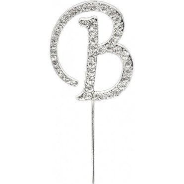 Letter B - Diamante Pick Cake Topper