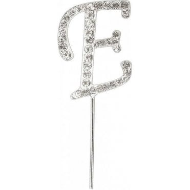 Letter E - Diamante Pick Cake Topper