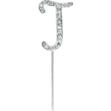 Letter J - Diamante Pick Cake Topper