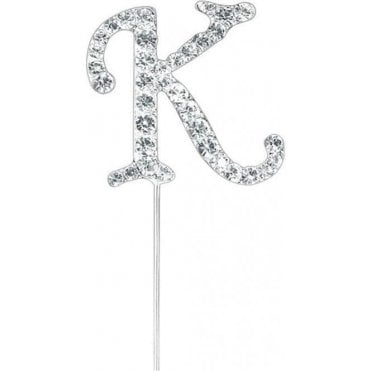 Letter K - Diamante Pick Cake Topper