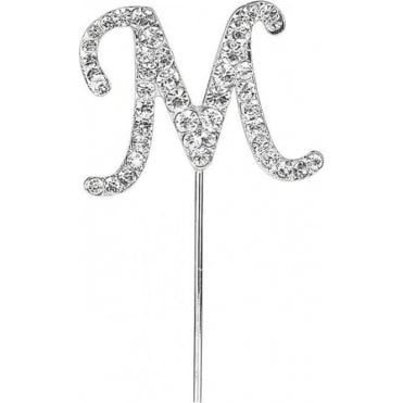 Letter M - Diamante Pick Cake Topper