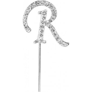 Letter R - Diamante Pick Cake Topper