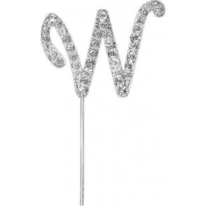 Letter W - Diamante Pick Cake Topper