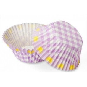 Lilac Gingham Butterfly Baking Cupcake Cases - 100 per pack