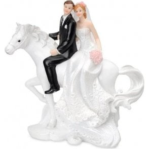 Resin Bride & Groom On Horse