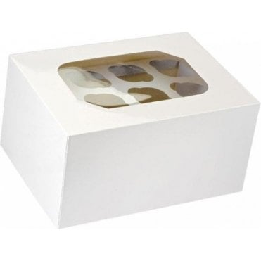 "White Satin ""double-decker"" Cupcake Box with Window - Holds 24 Cupcakes"