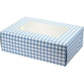 Blue Gingham Cupcake/Muffin Box - Holds 6