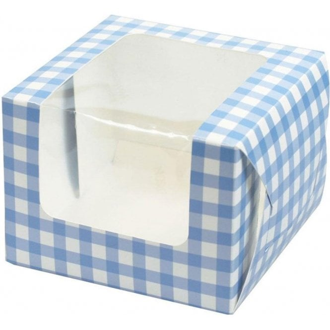 Culpitt Blue Gingham Single Cupcake Box with Side Window and Insert