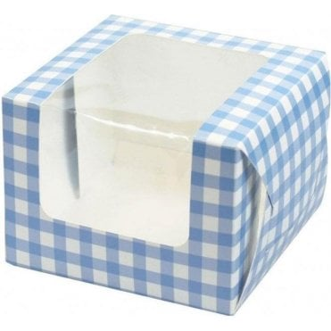 Blue Gingham Single Cupcake Box with Side Window and Insert
