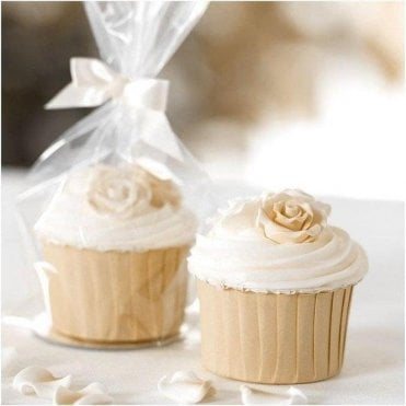 Clear Cupcake Gift Bags with Ribbon Ties - 12 pieces