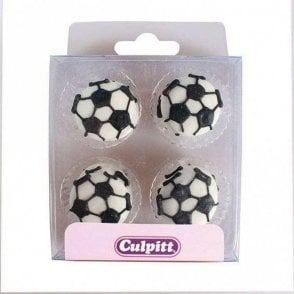 Footballs Edible Sugar Decoration - 12 pieces