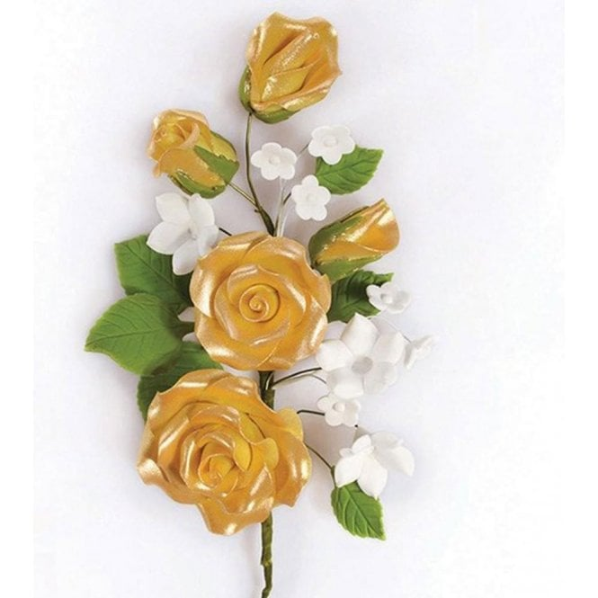 Culpitt Gold Rose Spray - Handmade Gumpaste/Sugar Flower 145mm