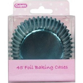 Ice Blue Metallic Foil Baking Cupcake Case - Pack of 45