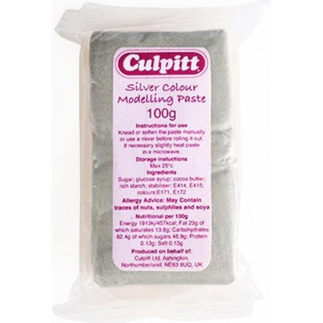 Culpitt Metallic Silver Sugar Modelling Paste use for Flowers, Moulds & Figures 100g