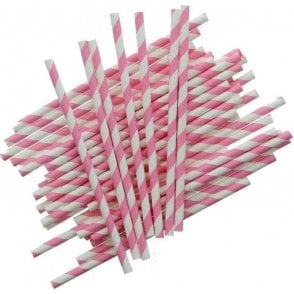 Pink Candy Stripe Cake Pop Sticks - Pack of 25