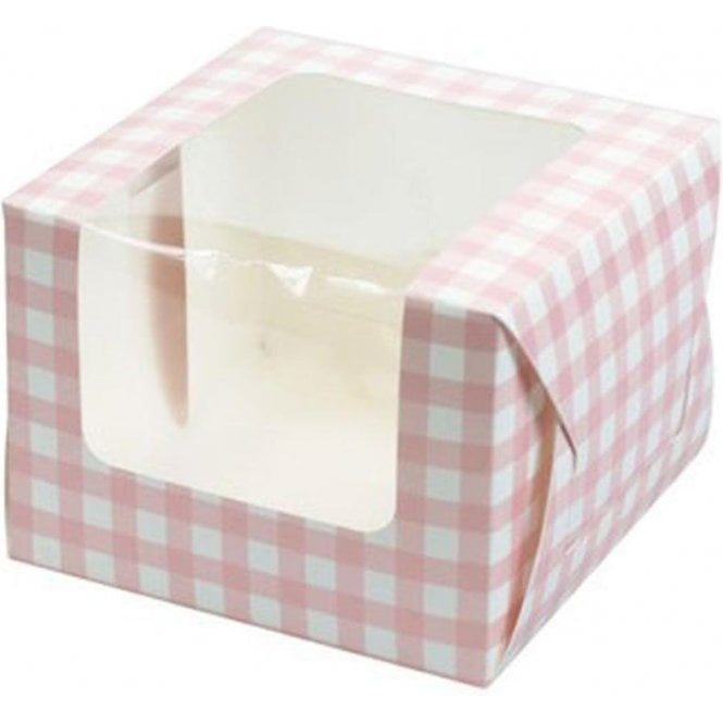 Culpitt Pink Gingham Single Cupcake Box with Side Window and Insert