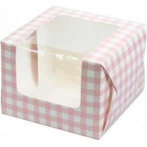 Pink Gingham Single Cupcake Box with Side Window and Insert
