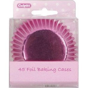 Pink Metallic Foil Baking Cupcake Case - Pack of 45